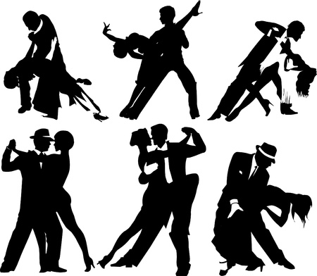 ballroom dancing: couples dancing Latin American dancing. Illustration