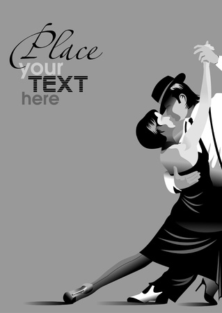 Paar nimmt an Wettbewerben im Tango im Dunkeln. Vektorgrafik