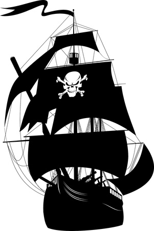 schooner: silhouette of a pirate ship with the image of a skeleton on the sail;