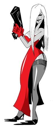 gangster with gun: Ilustraci�n de una hermosa mujer sosteniendo una pistola, Vectores