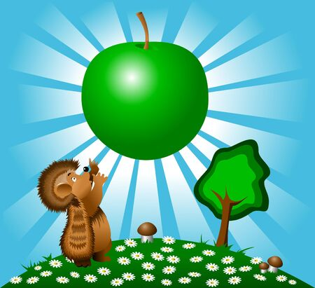 little hedgehog and a huge apple on blue sky background  Stock Vector - 10498130