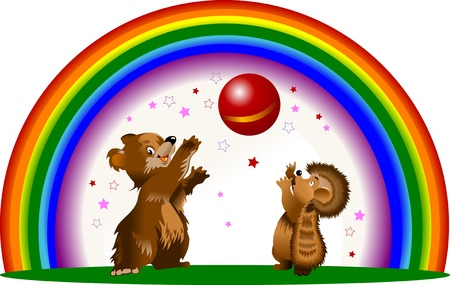star mascot: hedgehog and the bear cub playing ball against the background of the rainbow; Illustration