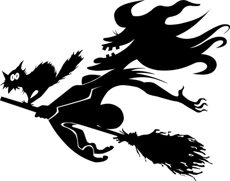 broomstick: scary old witch on a broomstick in the air