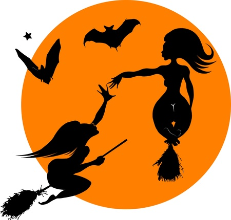 beautiful young witch on a broomstick in the air;  Vector