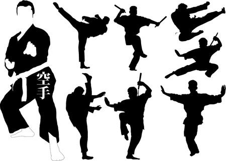 artes marciales: Siluetas de los luchadores de artes marciales. Ilustración vectorial;