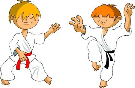 judo: Siluetas de los luchadores de artes marciales. Ilustración vectorial;