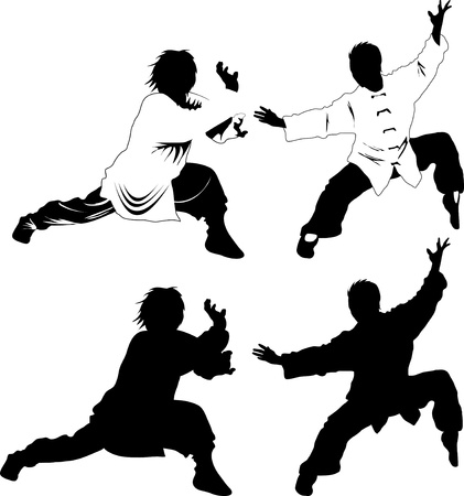 martial arts: Silhouettes of martial arts fighters. Vector illustration;