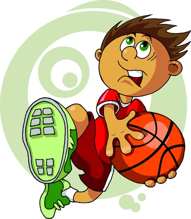 basketball dunk: player in basketball at the background of basketball rings (vector);