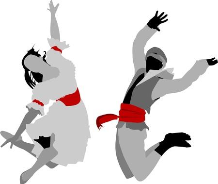 folk dancing: dance couple dancing folk dance (vector-illustration);