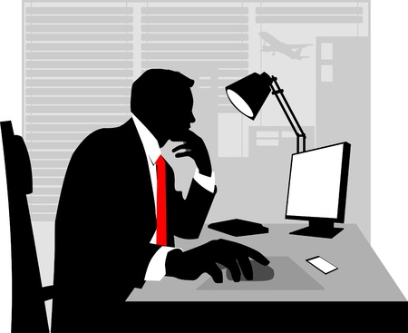 laptop silhouette: Office worker asleep at his desk;  Illustration