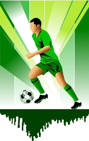 dribbling: soccer design element; green background (vector-illustration);  Illustration