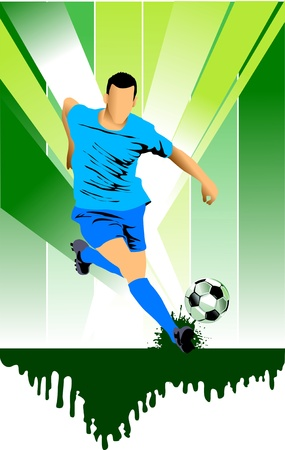 soccer design element; green background (vector-illustration);  Stock Vector - 11088719