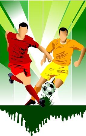 male feet: soccer design element; green background (vector-illustration);  Illustration
