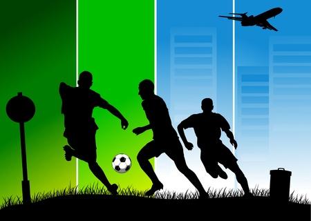 loser: soccer design element; green background (vector-illustration);  Illustration