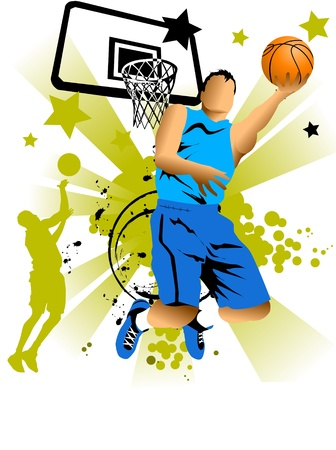 slam dunk: player in basketball at the background of basketball rings (vector);