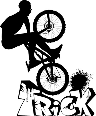 alloy wheel: teenager makes a dangerous leap on the bike. vector Illustration;