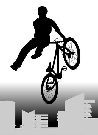 teenager makes a dangerous leap on the bike.  Illustration