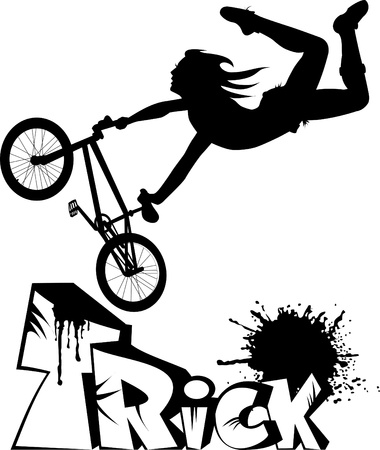 teenager makes a dangerous leap on the bike. Stock Vector - 11206078