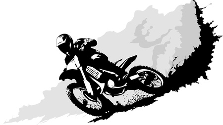 motorcycle helmet: A silhouette of a motorcycle racer commits high jump Illustration