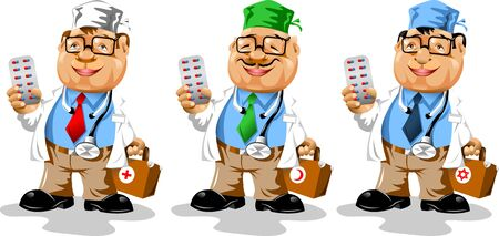 Three doctors of different nationalities in the same uniform with the medical bag in his hand;  Vector