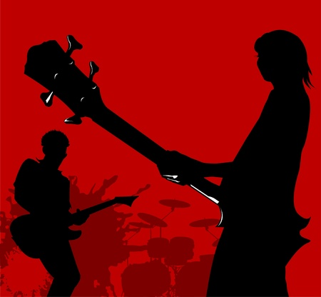 bass guitar: Abstract music background for music event design. Illustration