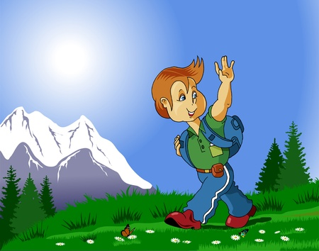 walking trail: young tourists go hiking in the mountains with a backpack on his shoulders Illustration