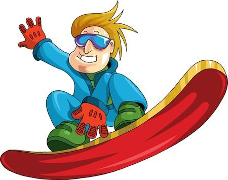 performs: uomo su un salto di snowboard esegue complesse Vettoriali