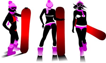 woman on a snowboard jump performs complex  Illusztráció