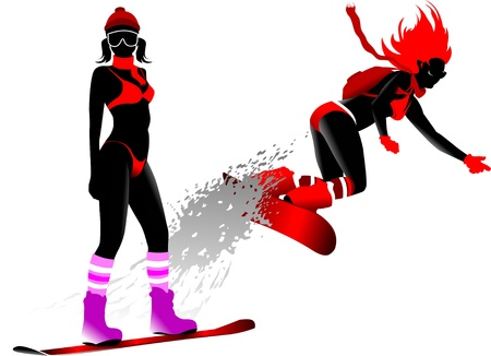 woman on a snowboard jump performs complex (vector illustration);