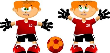 goal keeper: Jonge doelman klaar en alert te zijn op het doel op te slaan; Stock Illustratie