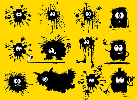 paint splat: funny black blob in the form of humans and animals (vector illustration);