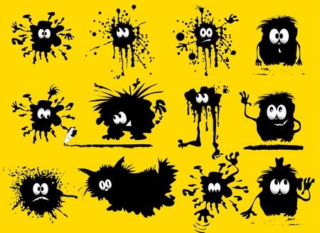 lustigen schwarzen Klecks in Form von Menschen und Tieren (Vektor-Illustration); Lizenzfreie Bilder - 11673996