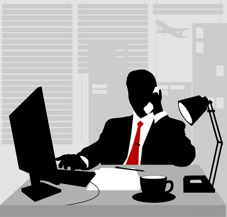 tired man: Office worker asleep at his desk; adult;  Illustration