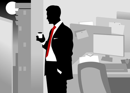 laptop silhouette: Office worker asleep at his desk (vector-illustration);  Illustration