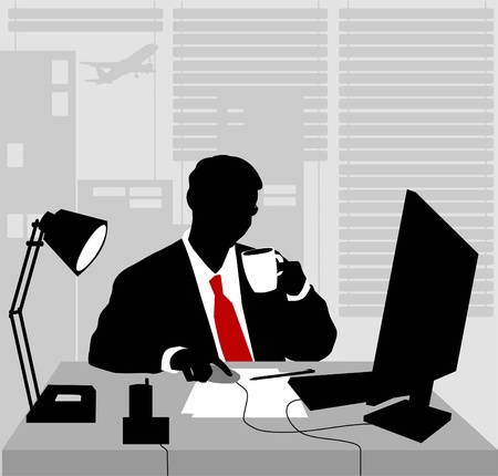 Office worker asleep at his desk (vector-illustration);  Vector