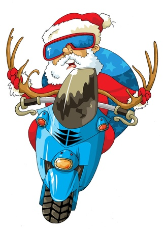 ilustration: Ilustration for Christmas and New Year. Santa Claus. Bag with gifts. Vector;