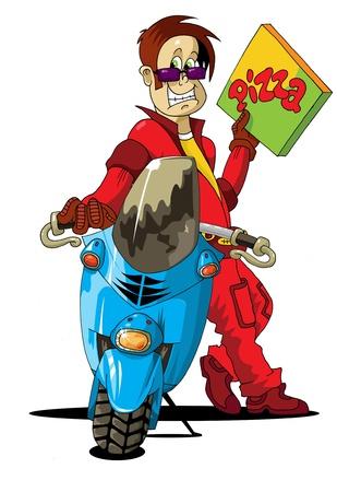 boy delivering pizza on scooter - vector illustration;  Vector