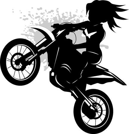 motorrad frau: Eine Silhouette eines Motorrad-Rennfahrer verpflichtet Hochsprung Illustration