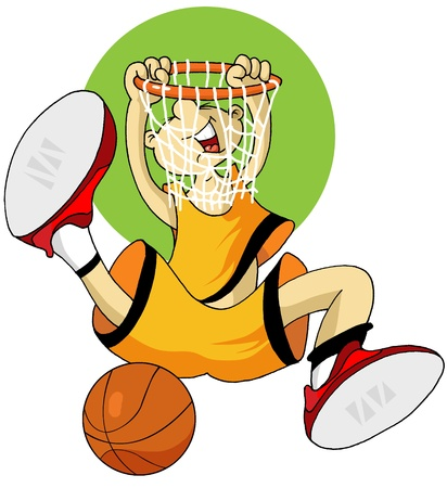 slam: player in basketball at the background of basketball rings (vector);