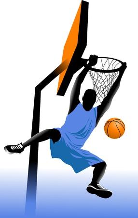 jugador de baloncesto en el fondo de los anillos de baloncesto (vector);