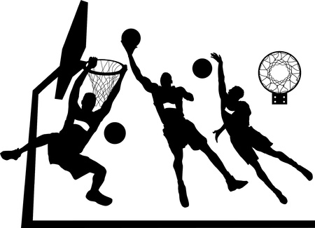 leaping: player in basketball at the background of basketball rings (vector);