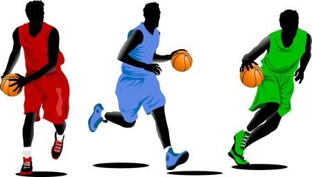 canestro basket: tre giocatori di pallacanestro, sotto forma di diversi colori (vettore);