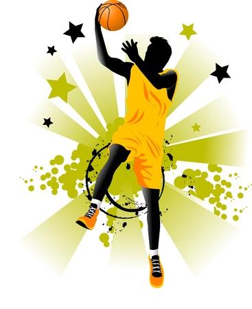 pelota de basquet: jugador de baloncesto en el fondo de los anillos de baloncesto (vector);