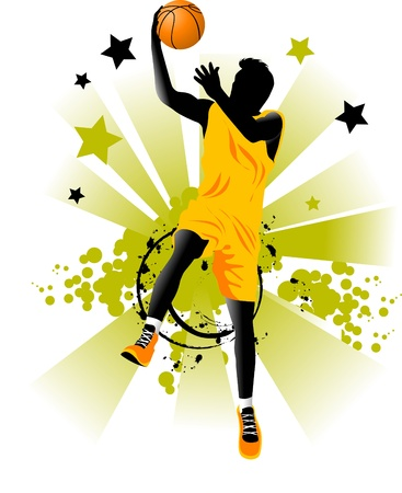 hopping: player in basketball at the background of basketball rings (vector);