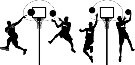 basketball hoop: Four players in basketball at the background of basketball rings (vector);