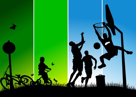 Three players in basketball at the background of basketball rings (vector);  Illusztráció