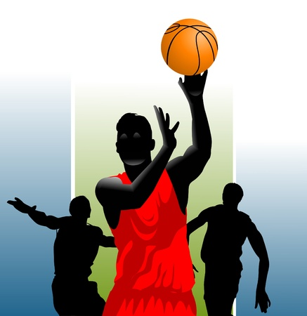 three basketball players in the form of different colors (vector);  Vector