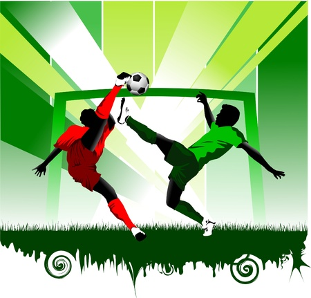 goal kick: soccer design element; green background (vector-illustration);  Illustration