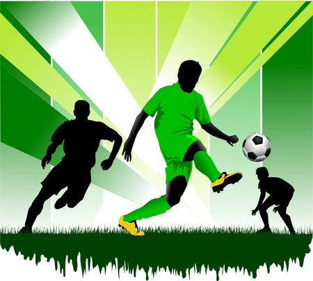 man in field: soccer design element; green background (vector-illustration);  Illustration