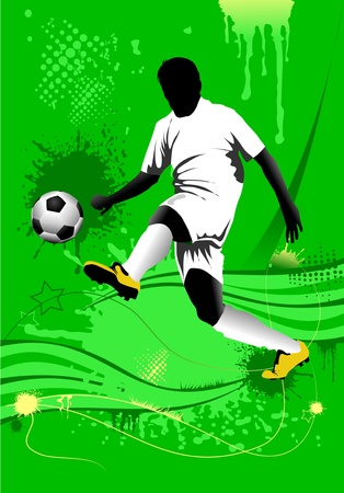 soccer design element; green background (vector-illustration);  Illustration